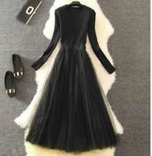 Women Lace Decorated Long Sleeve Black Brown Color Calf Length Bodycon Dress