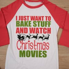 Bake Stuff And Watch Christmas Movies Women Casual T-Shirt Top 3/4 Sleeve blouse