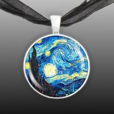 """The Starry Night Van Gogh Painting Art Print Round 1"""" Pendant Necklace in ST"""