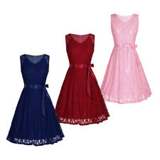 Womens Lace Floral Prom Dress Formal Evening Party Cocktail Wedding Ball Gown