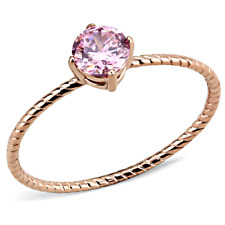 3558 ROSE GOLD STAINLESS STEEL SOLITAIRE  simulated diamond PINK SAPPHIRE