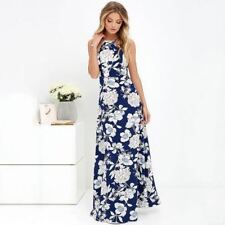 New Arrival Sleeveless Blue Color Halter Neck Floral Print Maxi Dress for Women
