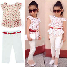 3Pcs Baby Girls Short Sleeve T-shirt+Pants+Belt Set Clothes Kids Summer Outfits