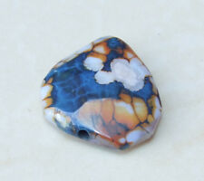 Blue Fire Agate Druzy Facated Bead Pendant Stone - Center Drilled - 25mm