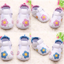 Baby Kids Girls Embroidery Flower PU Leather Shoes Toddler Soft Sole Crib Shoes