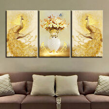 3 Panel Golden Peacock couple flower wall art printing canvas hanging home decor