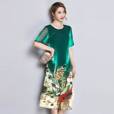 Women Plus Size Colorful Printed Round Neck Short Sleeve Mid-calf Silk Dress