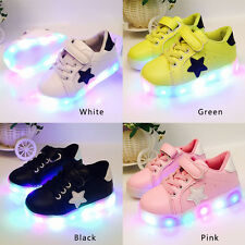 LED Light Up Luminous Shoes Kids Toddler Infants Trainers Boys Girls Unisex Gift