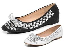 S10 - Ladies White & Silver Bow Ballet Flats Pump Ballerina Shoes - UK 3-8
