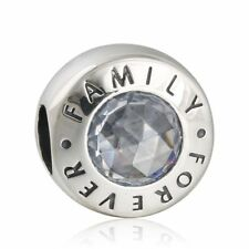 Genuine sterling silver Clear Crystal Stone Family Forever Charm Bead Fit bangle