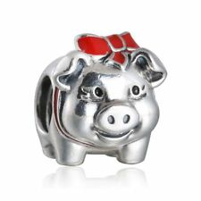 Solid Sterling Silver Red Enamel Bowknot Piggy Bank Charm Beads Fit Bracelet