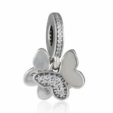 authentic 925 sterling silver Charm Bead CZ Pave Fluttering Butterfly Pendant