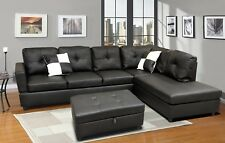 Winpex Contemporary Faux Leather Sectional Sofa with storage ottoman 3pcs Black