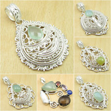 Many Choices ! 925 Silver Plated AQUA CHALCEDONY & Other Gems Pendant Jewelry