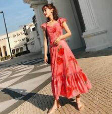 Women Floral Printed Ruffle Chiffon Fabric Sleeveless Casual Party Dress