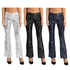 Womens Sequins Flared Palazzo Trousers Wide Leg Long Pants Stretchy Bell Bottom