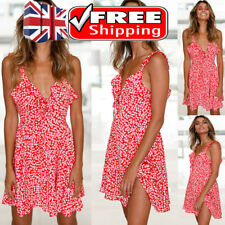 UK WOMEN FLORAL PRINT BOHO V NECK SUMMER HOLIDAY BEACH MINI DRESS PARTY SUNDRESS