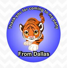 Tiger personalised birthday party favour thank you stickers custom name