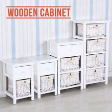 White Wooden Nightstand End Table Bedside Table Dresser with Wicker Storage