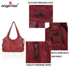 Angelkiss Washed Leather Purses Shoulder Bags Women 2 Top Zippers Multi Pockets