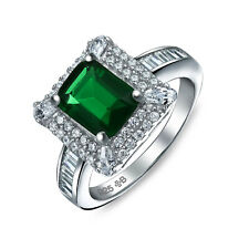 Bling Jewelry Square Simulated Emerald CZ Deco Halo Sterling Silver Ring