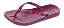 Womens Ipanema Beach Flip Flops / Beach Pool Sandals - Berry Red -World Shipping