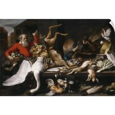 Wall Decal entitled Still life with dead game, fruits, and vegetables in a