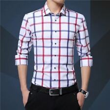 Men Cotton Blend Casual Wear Plaid Printed Pattern Long Sleeve Shirt Ab58