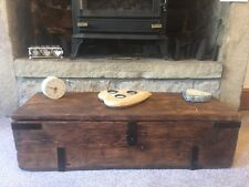 Antique PINE CHEST, Old TRUNK, Coffee TABLE, Vintage Storage BOX, rustic chest
