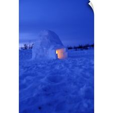 Wall Decal entitled Canada, Manitoba, Churchill. Arctic igloo with candle light