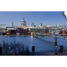 Wall Decal entitled St Paul's Cathedral and Millennium Bridge, London, England