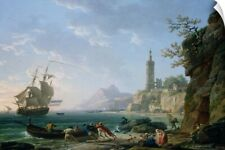Wall Decal entitled A Coastal Mediterranean Landscape with a Dutch Merchantman