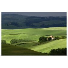 Poster Print Wall Art entitled Rolling agricultural farm fields and dappled