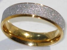 6MM ENS WOMENS WEDDING  BAND RING  SPARKLING TWO TONE GOLD STAINLESS STEEL
