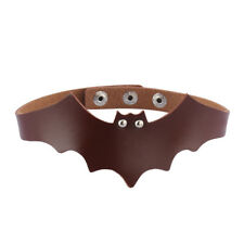 Womens Adjustable Leather Choker Necklace Bat Punk Goth Halloween Necklace