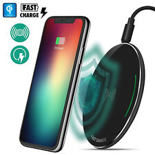 Black Qi Wireless Fast Charger Charging Pad Samsung Galaxy Note 8 S8 iPhone X 8