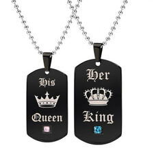 Couple Dog Tag Pendant Crown His Queen Her King Matching Steel Necklace