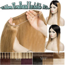 """100G Full Head Invisible Wire Remy 100% Human Hair Extensions 18-20-22"""" Headband"""