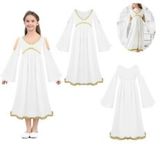 Kids Girls V-neck Greek Goddess Dress Halloween Costume Cosplay Party Role Play