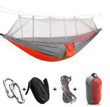 Portable Travel Camping Hammock Outdoor Swing Bed Mosquito Net Nylon Parachute