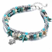 Women's Silver Foot Anklets Bracelet Bead Shell Starfish Turtle Beach Jewelry