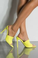 CAPE ROBBIN Cece Lime Suede Pointed Pointy Toe Peep toe High Heel Stiletto Mule
