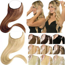 Invisible Wire Hidden Crown Hairpiece Straight 100% Remy Human Hair Extensions U