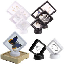 1X 3D Floating Jewelry Display Case Stand Holder Easy Use Gem Ring Storage Clear