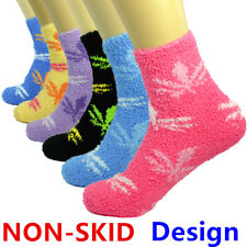 Lot 3-10 Pairs For Womens Soft Cozy Fuzzy Socks Non-Skid Maple Home Warm Slipper