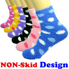 Lot 3-10 Pairs For Womens Soft Cozy Fuzzy Socks Non-Skid DOTS Home Warm Slipper