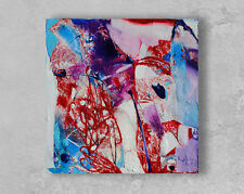 Abstract small original oil painting on canvas art work colorful expressionist