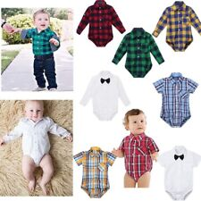 Baby Boys Plaid Cotton Button-up Shirt Romper Jumpsuit Playsuit Toddler Clothes