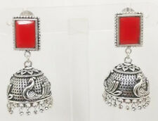 Oxidized Silver Jhumka Earrings Indian Jewelry Coloured Stone Traditional Style