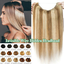 100% Remy Human Hair Extensions THICK No Clip in Hidden Headband Invisible Wire